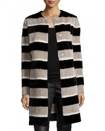 條紋羔羊毛長外套,淺灰色